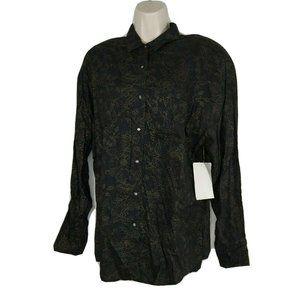 Vintage Get! Button Front Shirt Women Size L Black